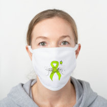 Lime Green Awareness Ribbon with Butterfly White Cotton Face Mask