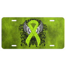 Lime Green Awareness Ribbon with Wings License Plate