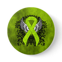 Lime Green Awareness Ribbon with Wings Pinback Button