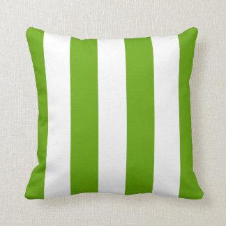 Lime Green Awning Stripe Throw Pillow