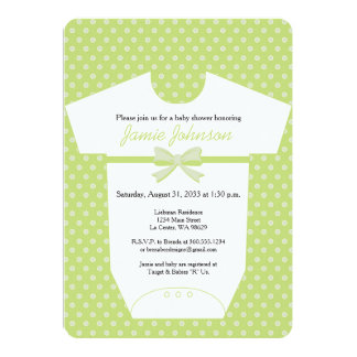 Lime Green Baby Body Suit Invitation