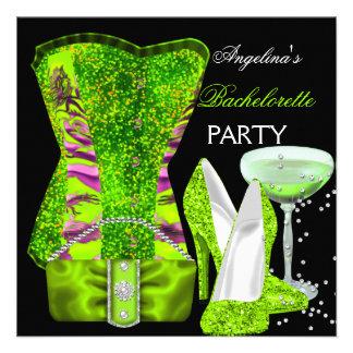 Lime green Bachelorette Party Shoes Corset Personalized Announcements