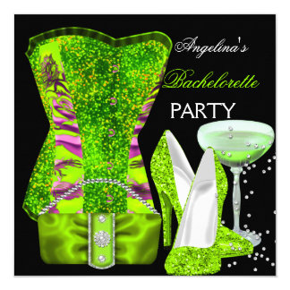 "Lime green Bachelorette Party Shoes Corset 5.25"" Square Invitation Card"