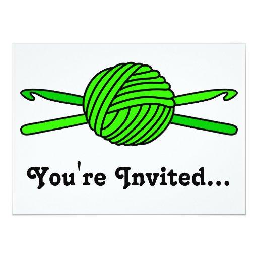 Lime Green Ball of Yarn & Crochet Hooks 5.5x7.5 Paper Invitation Card