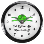 Lime Green Ball of Yarn & Crochet Hooks Fish Tank Clock