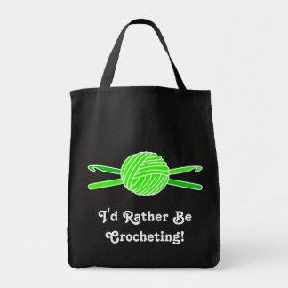 Lime Green Ball of Yarn & Crochet Hooks Bags