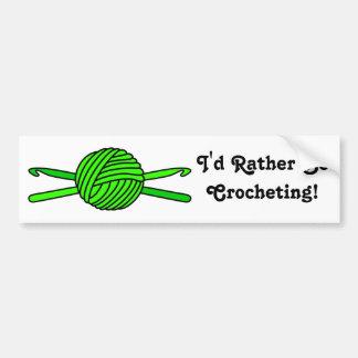 Lime Green Ball of Yarn & Crochet Hooks Bumper Sticker