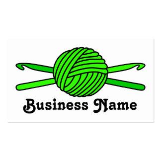 Lime Green Ball of Yarn & Crochet Hooks Business Card