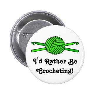 Lime Green Ball of Yarn & Crochet Hooks Button