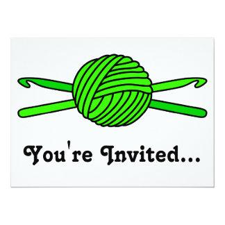 Lime Green Ball of Yarn & Crochet Hooks Card