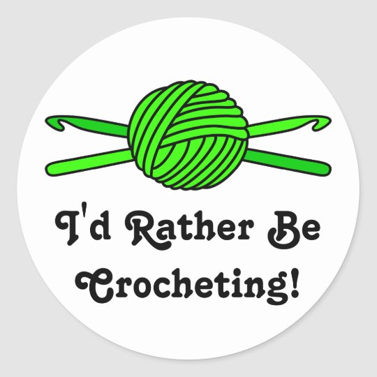Lime Green Ball of Yarn & Crochet Hooks Classic Round Sticker
