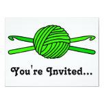 Lime Green Ball of Yarn & Crochet Hooks Custom Announcement