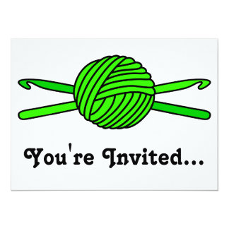 Lime Green Ball of Yarn & Crochet Hooks 5.5x7.5 Paper Invitation Card