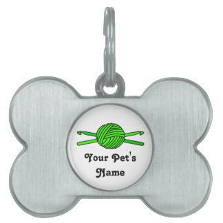 Lime Green Ball of Yarn & Crochet Hooks Pet Name Tags