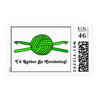 Lime Green Ball of Yarn & Crochet Hooks Postage Stamp