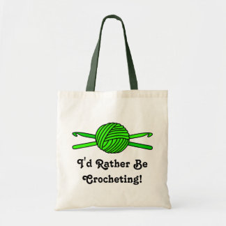 Lime Green Ball of Yarn & Crochet Hooks Tote Bag