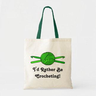 Lime Green Ball of Yarn & Crochet Hooks Tote Bag