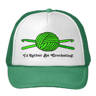 Lime Green Ball of Yarn & Crochet Hooks Trucker Hat