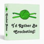 Lime Green Ball of Yarn & Crochet Hooks -Version 2 3 Ring Binder