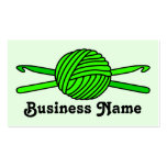 Lime Green Ball of Yarn & Crochet Hooks -Version 2 Double-Sided Standard Business Cards (Pack Of 100)