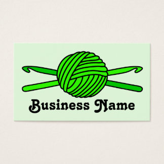 Lime Green Ball of Yarn & Crochet Hooks -Version 2 Business Card