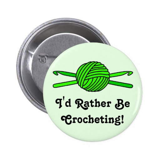 Lime Green Ball of Yarn & Crochet Hooks -Version 2 2 Inch Round Button