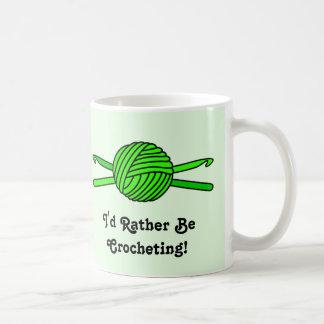 Lime Green Ball of Yarn & Crochet Hooks -Version 2 Coffee Mug