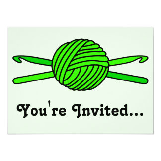 Lime Green Ball of Yarn & Crochet Hooks -Version 2 5.5x7.5 Paper Invitation Card