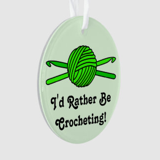 Lime Green Ball of Yarn & Crochet Hooks -Version 2 Ornament