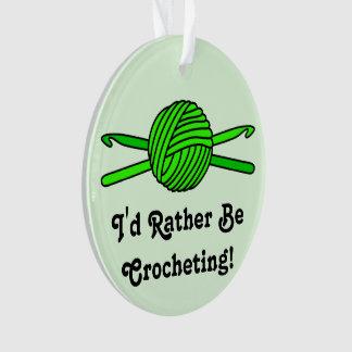Lime Green Ball of Yarn & Crochet Hooks -Version 2 Ornament