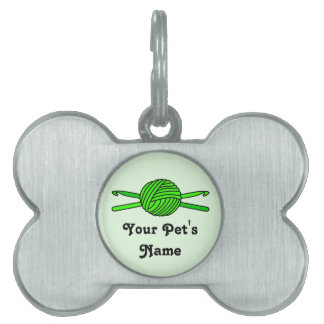 Lime Green Ball of Yarn & Crochet Hooks -Version 2 Pet Tag