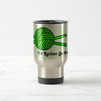 Lime Green Ball of Yarn & Crochet Hooks -Version 2 Travel Mug