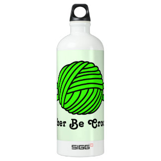 Lime Green Ball of Yarn & Crochet Hooks -Version 2 Water Bottle