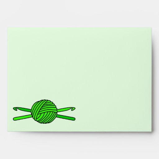 Lime Green Ball of Yarn & Crochet Hooks -Version 4 Envelopes