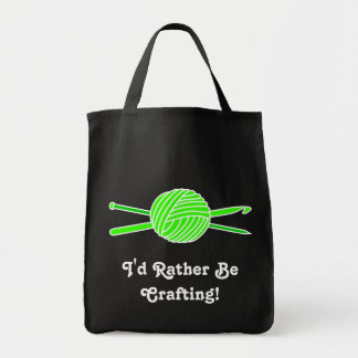 Lime Green Ball of Yarn (Knit & Crochet) Tote Bags