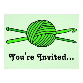 Lime Green Ball of Yarn (Knit & Crochet) Card