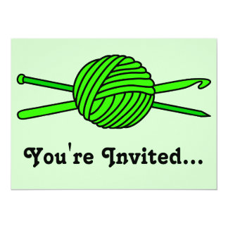 Lime Green Ball of Yarn (Knit & Crochet) 5.5x7.5 Paper Invitation Card