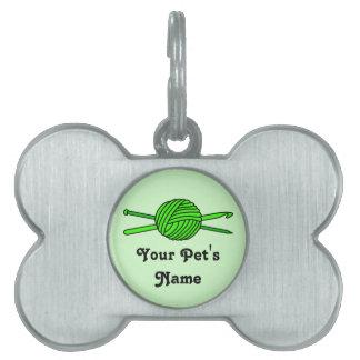 Lime Green Ball of Yarn (Knit & Crochet) Pet ID Tag