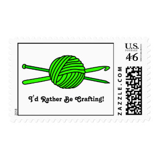 Lime Green Ball of Yarn (Knit & Crochet) Stamp