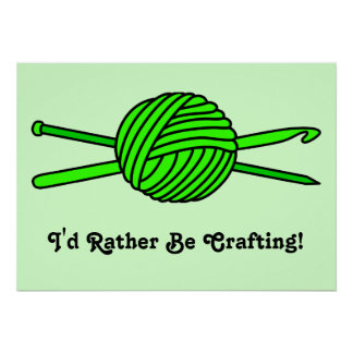 Lime Green Ball of Yarn (Knit & Crochet) Posters