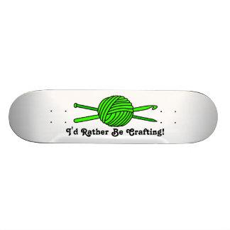 Lime Green Ball of Yarn (Knit & Crochet) Skateboard Deck