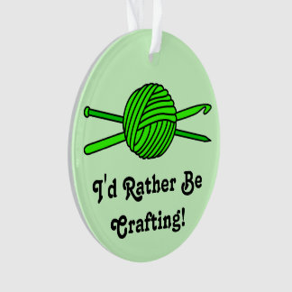 Lime Green Ball of Yarn (Knit & Crochet-Version 2) Ornament