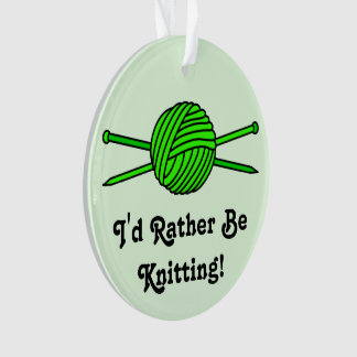 Lime Green Ball of Yarn & Knitting Needles (#2) Ornament