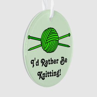 Lime Green Ball of Yarn & Knitting Needles (#2) Ornament