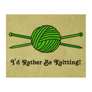 Lime Green Ball of Yarn & Knitting Needles (#2) Cork Paper Print