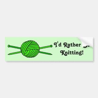 Lime Green Ball of Yarn & Knitting Needles Bumper Sticker