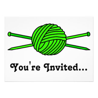 Lime Green Ball of Yarn & Knitting Needles Personalized Invitation