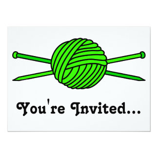 Lime Green Ball of Yarn & Knitting Needles 5.5x7.5 Paper Invitation Card