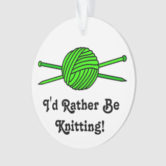 Lime Green Ball of Yarn & Knitting Needles Ornament