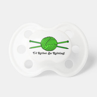 Lime Green Ball of Yarn & Knitting Needles Pacifiers